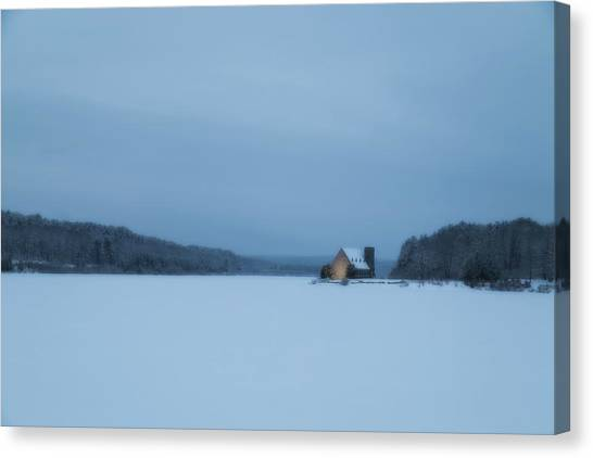 Blue Hour At The Old Stone Church Canvas Print