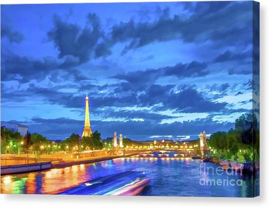 Paris Night Canvas Print - Blue Hour In Paris by Delphimages Photo Creations