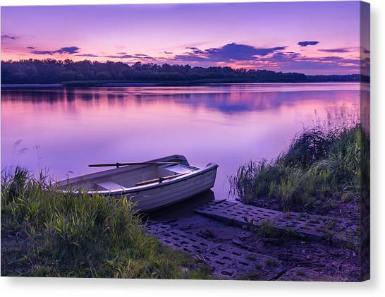 Blue Hour On The Vistula River Canvas Print