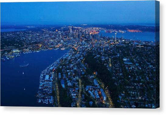 Cloud Forests Canvas Print - Blue Hour Seattle Aerial Cityscape by Mike Reid