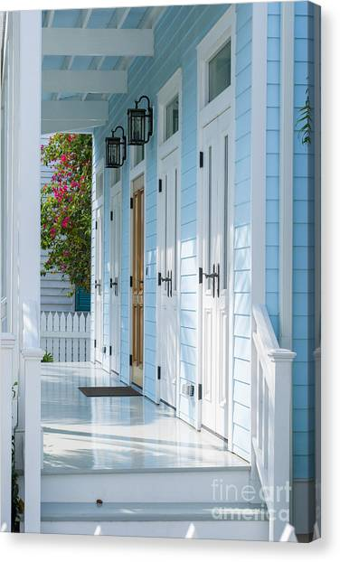 Architectural Detail Canvas Print - Blue House by Juli Scalzi