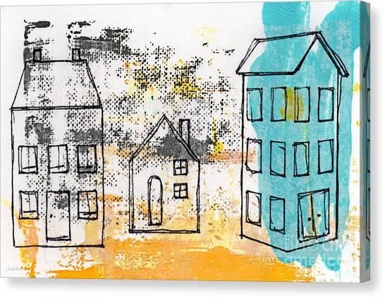 Villages Canvas Print - Blue House by Linda Woods