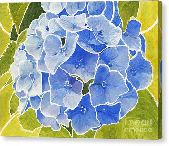 Blue Hydrangea Stained Glass Look Canvas Print