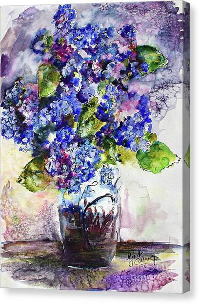 Blue Hydrangeas In Art Glass Vase Still Life Canvas Print