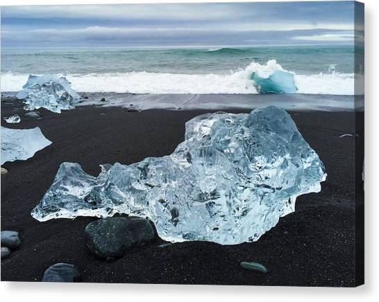 White Canvas Print - Blue Ice In Iceland Jokulsarlon by Matthias Hauser