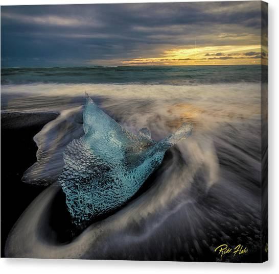 Canvas Print featuring the photograph Blue Ice Stranding by Rikk Flohr