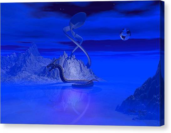 Canvas Print featuring the digital art Blue Ice World Dragon by Deleas Kilgore