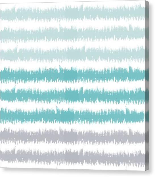 Stripe Canvas Print - Blue Ikat Stripe- Art By Linda Woods by Linda Woods