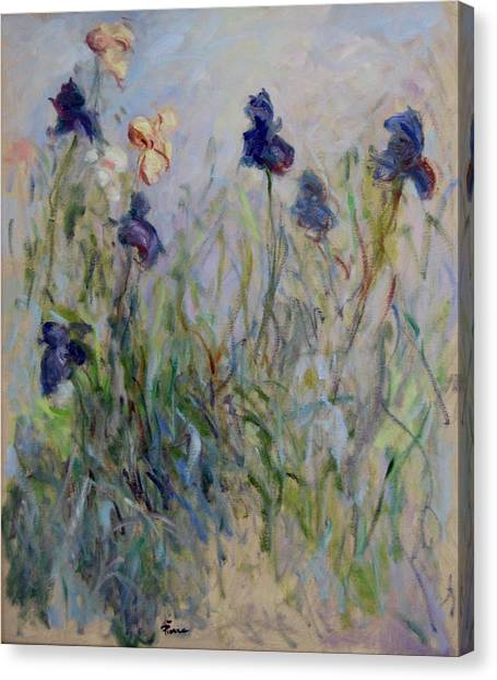Blue Irises In The Field, Painted In The Open Air  Canvas Print