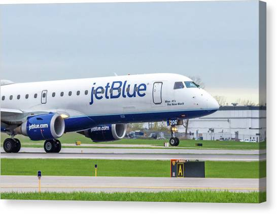 Jetblue Canvas Print - Blue - It's The New Black by Guy Whiteley