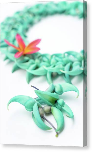 Canvas Print featuring the photograph Blue Jade Lei by Denise Bird