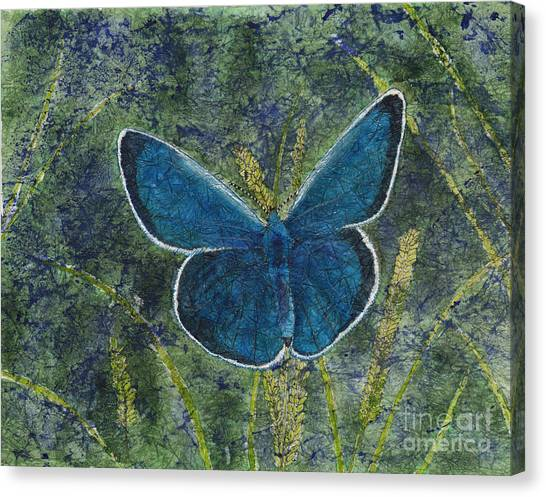 Blue Karner Butterfly Watercolor Batik Canvas Print