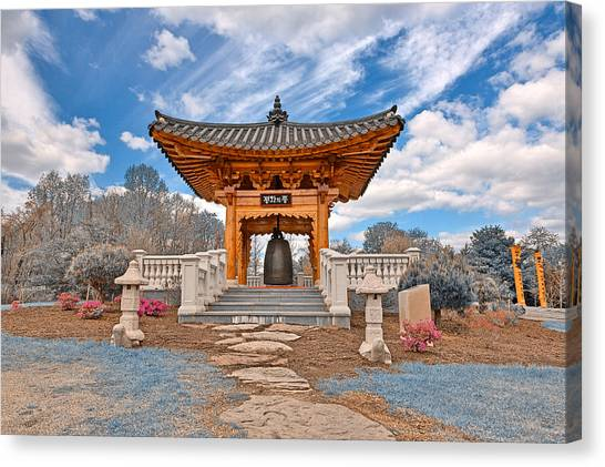 Blue Korean Bell Garden Canvas Print