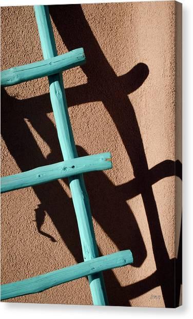 Blue Ladder And Shadow Canvas Print by David Gordon