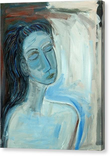 Blue Lady Abstract Canvas Print by Maggis Art
