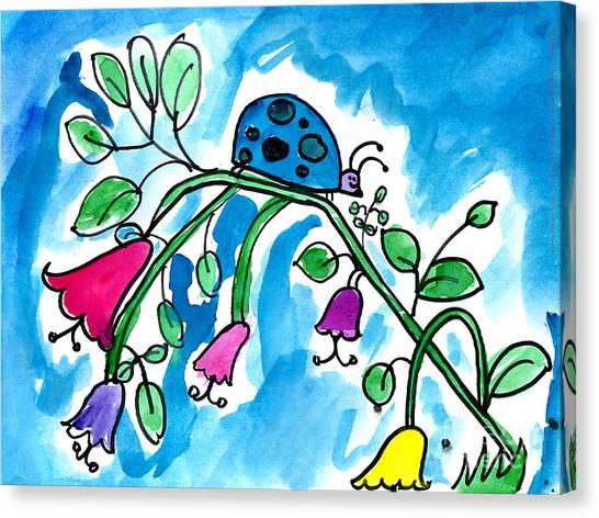 Blue Ladybug Canvas Print