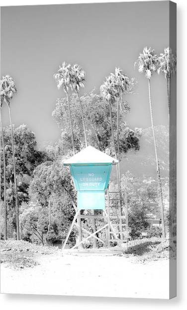 Lifeguard Canvas Print - Blue Life Guard Shack. by Sean Davey