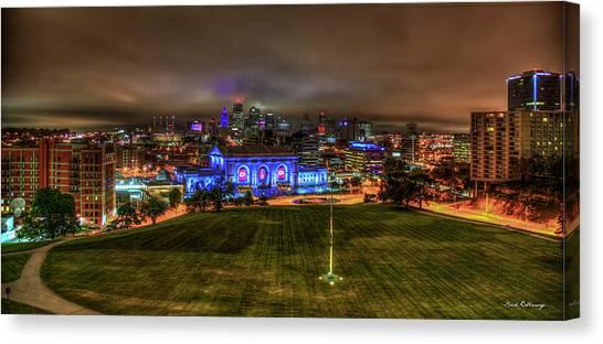 Kansas City Royals Canvas Print - Blue Lights On Kansas City Union Station Kansas City Missouri Art by Reid Callaway