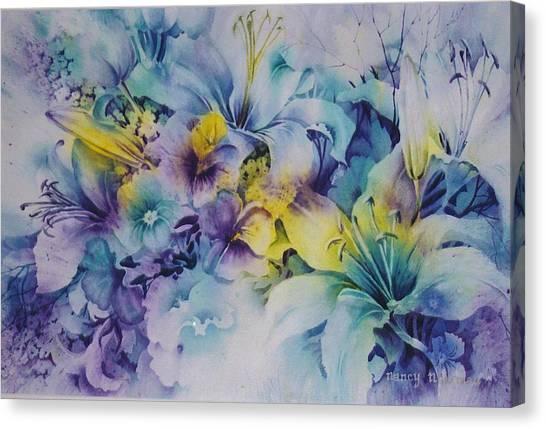 Blue-lilies Canvas Print by Nancy Newman