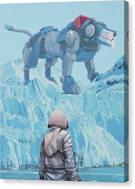 Canvas Print featuring the painting Blue Lion by Scott Listfield