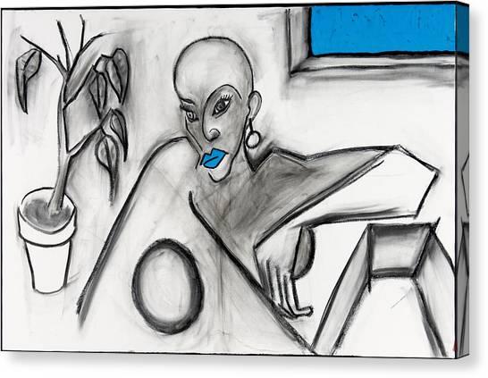 Blue Lips 24x36 Canvas Print