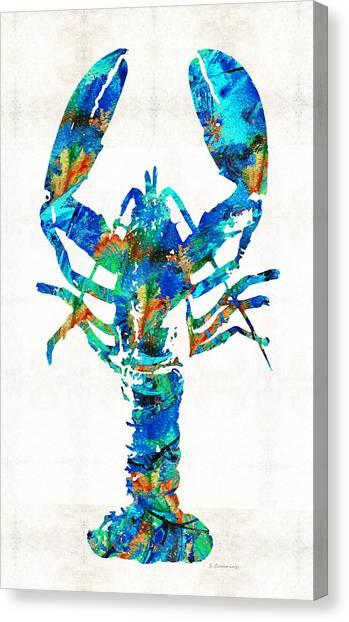 Lobster Canvas Print - Blue Lobster Art By Sharon Cummings by Sharon Cummings