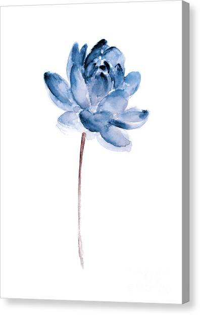 Flag Canvas Print - Blue Lotos Flower Girls Room Decor by Joanna Szmerdt