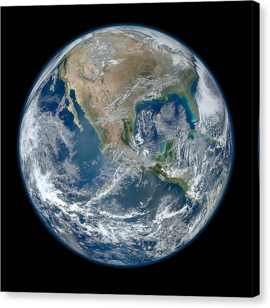 Canvas Print featuring the photograph Blue Marble 2012 Planet Earth by Nikki Marie Smith