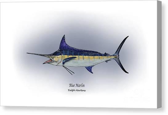 Angling Art Canvas Print - Blue Marlin by Ralph Martens