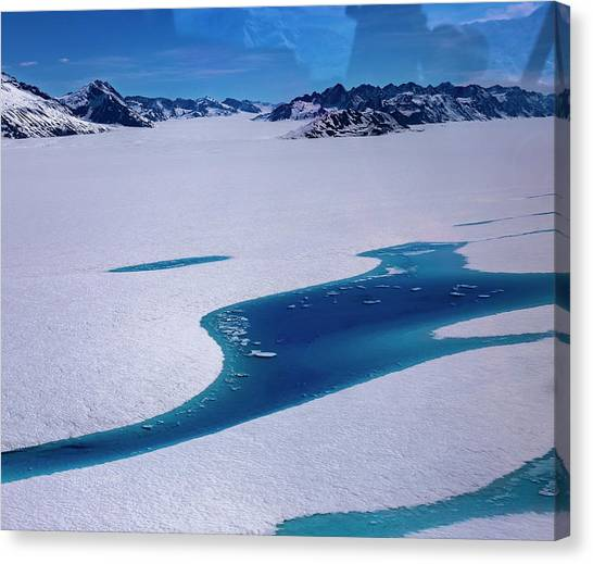 Canvas Print featuring the photograph Blue Meltwater Lake  by Fred Denner