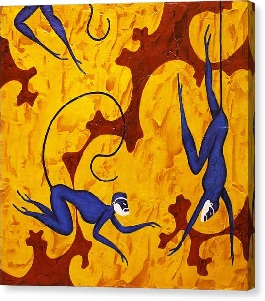 Bogdanoff Canvas Print - Blue Monkeys No. 45 by Steve Bogdanoff