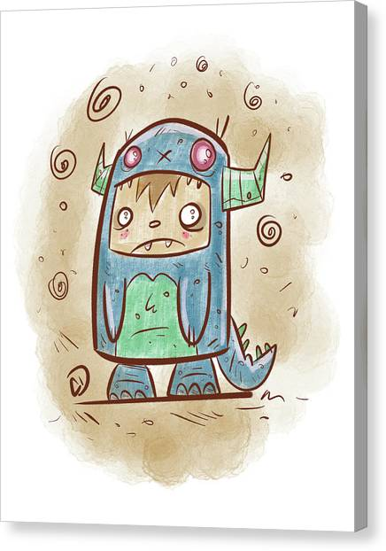 Monsters Canvas Print - Blue Monster Boy #2 by Cesar Diaz
