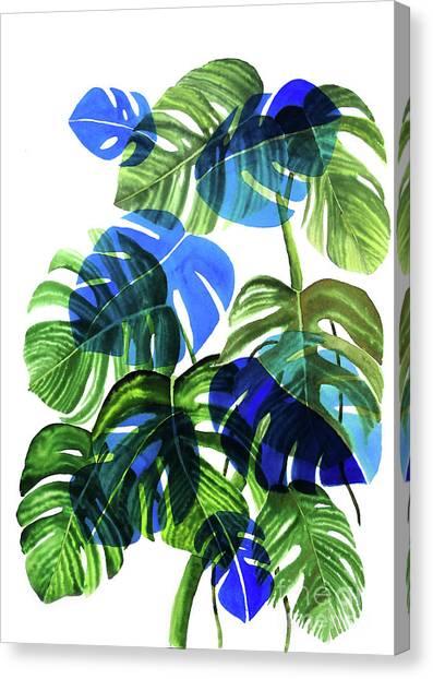 Bananas Canvas Print - Blue Monstera by Ana Martinez