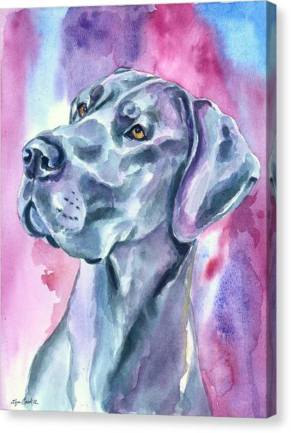 Great Danes Canvas Print - Blue Mood - Great Dane by Lyn Cook