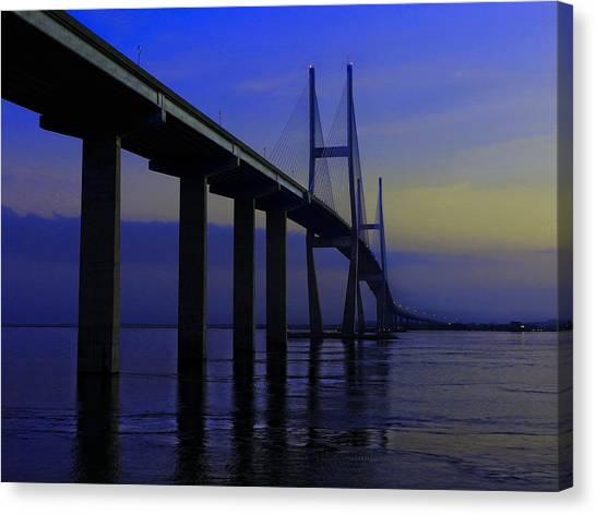 Blue Mood Bridge Canvas Print
