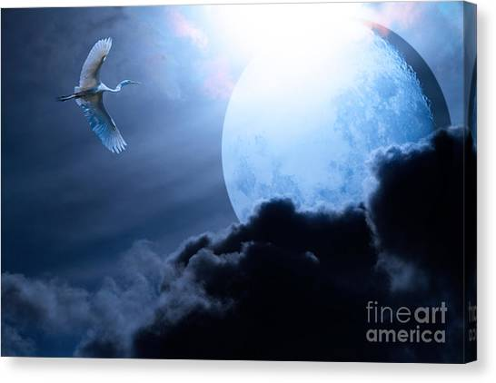 Blue Moon - 7d12372 Canvas Print by Wingsdomain Art and Photography