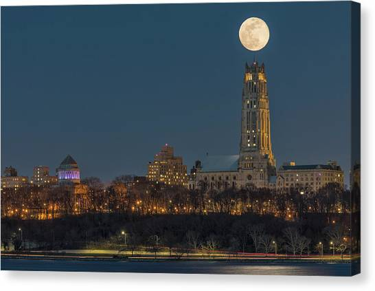 Columbia University Canvas Print - Blue Moon Over Cathedral Of Saint John Nyc by Susan Candelario