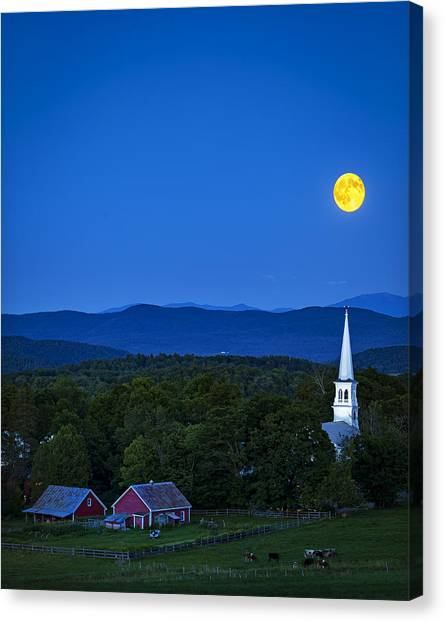 Blue Moon Rising Over Church Steeple Canvas Print