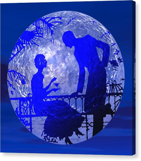 Blue Moonlight Lovers Canvas Print