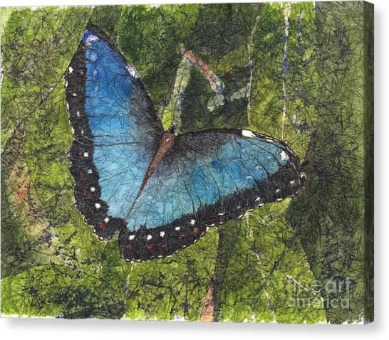 Blue Morpho Butterfly Batik Canvas Print