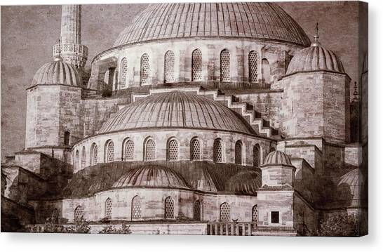 Byzantine Canvas Print - Blue Mosque - Vintage Print by Stephen Stookey