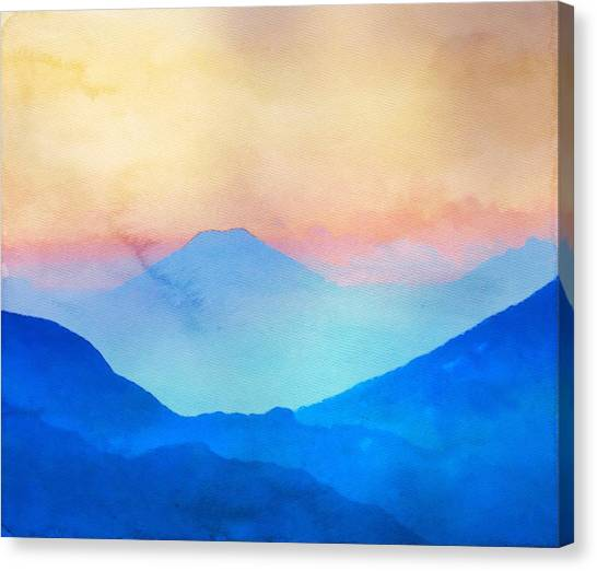 Blue Mountains Watercolour Canvas Print
