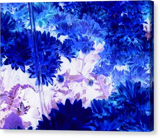 Blue Mums And Water Canvas Print