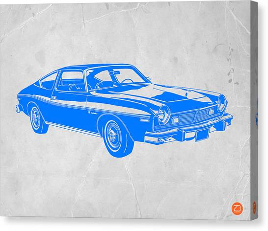 Classic Car Canvas Print - Blue Muscle Car by Naxart Studio