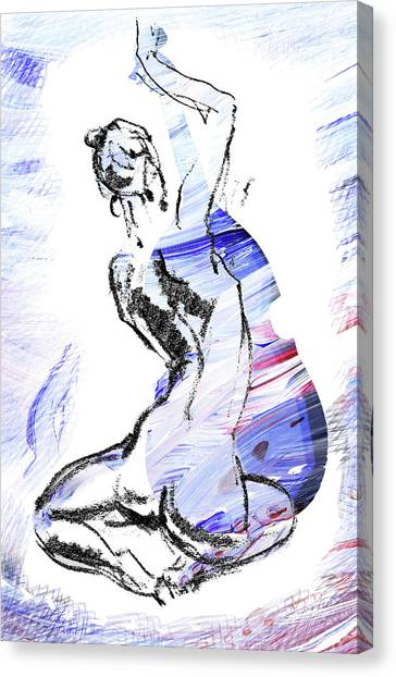 Contra Canvas Print - Blue Music Nude Playing Cello by Irina Sztukowski