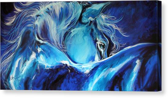 Blue Night Abstract Equine Canvas Print