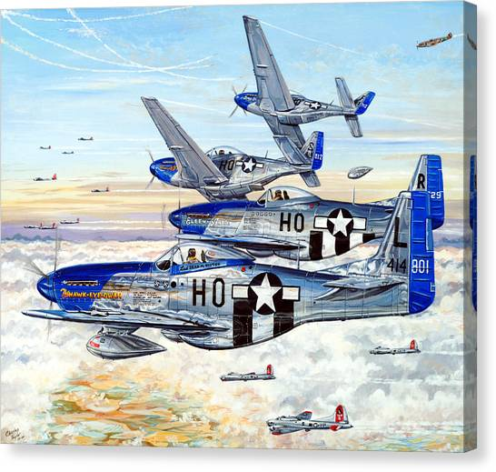 B-17 Canvas Print - Blue Nosed Bastards Of Bodney by Charles Taylor