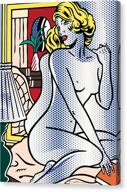 Blue Nude - Signed -  Pop Art Canvas Print