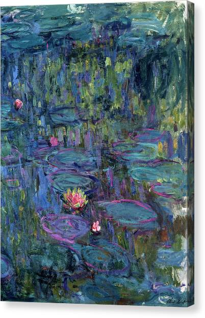 Lyrical Abstraction Canvas Print - Blue Nympheas by Claude Monet