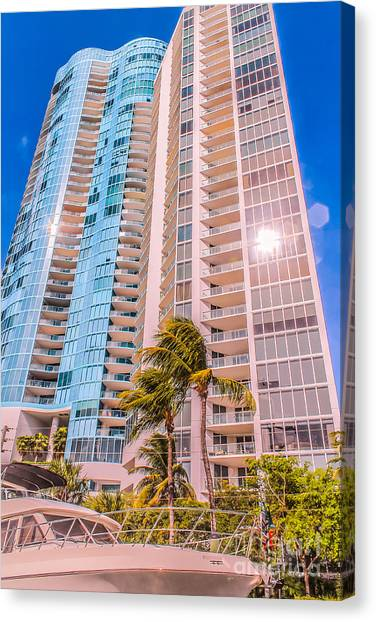 Aqua Condominiums Canvas Print - Blue On Blue by Claudia M Photography